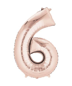 Rose Gold Numbered Minishape Foil Balloon #6