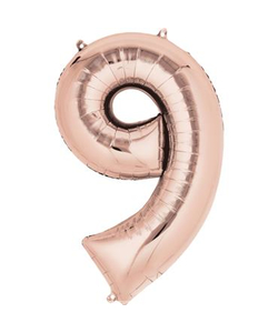Rose Gold Numbered Minishape Foil Balloon #9