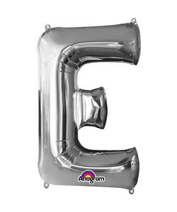 16'' Letter 'E' Silver Air Fill Balloon