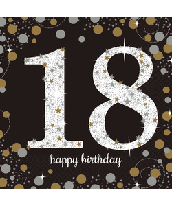 Black and Gold 18th Birthday Napkins - 16 Pack