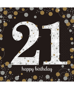 Black and Gold 21th Birthday Napkins - 16 Pack