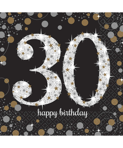Black and Gold 30th Birthday Napkins - 16 Pack