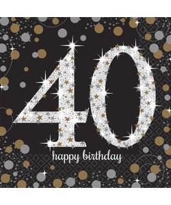 Black and Gold 40th Birthday Napkins - 16 Pack