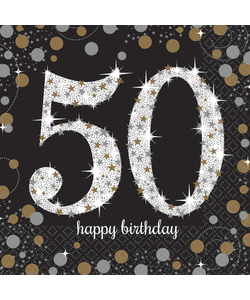 Black and Gold 50th Birthday Napkins - 16 Pack