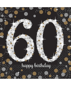 Black and Gold 60th Birthday Napkins - 16 Pack
