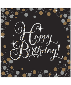 16 Pack of Black and Gold Happy Birthday - Party Napkins.