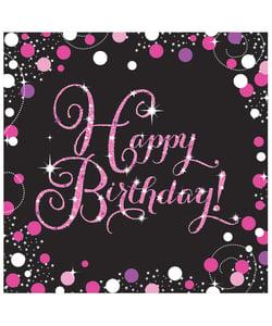 Black and PinkHappy Birthday Napkins - 16 Pack