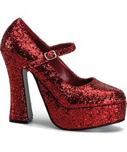 Mary Jane Red Glitter Shoes