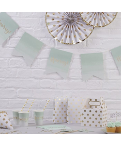 Mint Green Ombre & Gold Foiled Hooray Paper Bunting