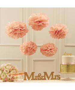 Tissue Pom Poms Decorations - Pastel Pink