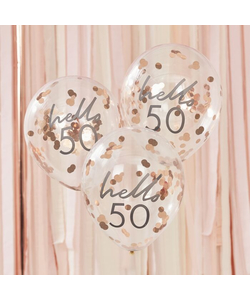 Hello 50 Rose Gold Confetti Balloons - 5 Pack