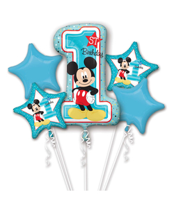 Mickey Mouse 1st Birthday Helium Inflated Balloon Bouquet