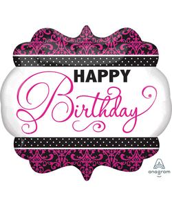 Black, Pink & White Birthday Super Shape Foil Balloons