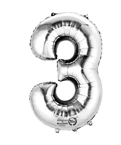 """16"""" Number 3 Silver Air Fill Balloon"""