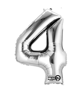 """16"""" Number 4 Silver Air Fill Balloon"""