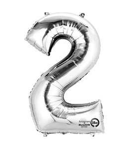 """16"""" Number 2 Silver Air Fill Balloon"""