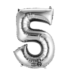 """16"""" Number 5 Silver Air Fill Balloon"""
