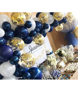 Navy, White And Gold Confetti Balloons Garland & Arch Kit - 60 Pcs