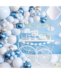 Blue, White And Silver Balloons Garland & Arch Kit - 104 Pcs