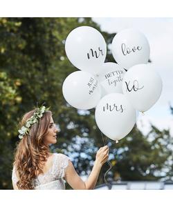 White Wedding Balloons Bundle - 6 Pack