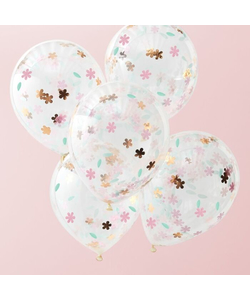 Rose Gold Floral Confetti Balloons - 5 Pack