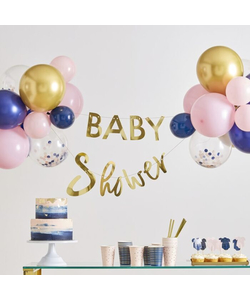 Gold Baby Shower Banner And Balloon Decoration - 32 Pieces