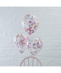 Multicoloured Confetti Balloons - 5 Pack