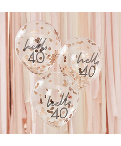 Hello 40 Rose Gold Confetti Balloons - 5 Pack