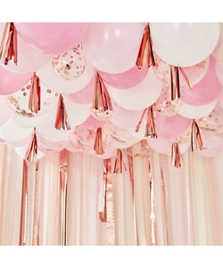 Blush, White And Rose Gold Ceiling Balloons With Tassels - 160 Pieces