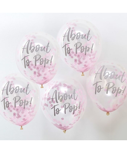 About To Pop! Pink Baby Shower Confetti Balloons - 5 Pack