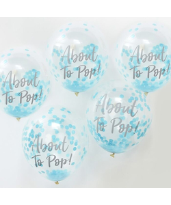 About To Pop! Blue Baby Shower Confetti Balloons - 5 Pack