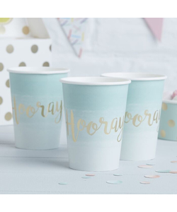 Mint & Gold Foiled Hooray Paper Cups - 8 Pack