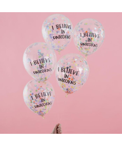 I Believe In Unicorns Confetti Balloons - 5 Pack