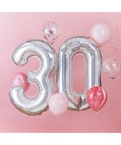 Iridescent Foil 30th Birthday Balloon Bundle- 6 Pack
