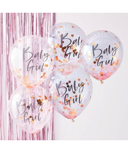 Baby Girl Pink Baby Shower Balloons - 5 Pack