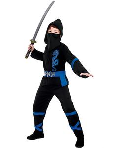 Black And Blue Power Ninja Costume - Kids