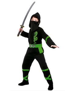 Black And Green Power Ninja Costume - Kids