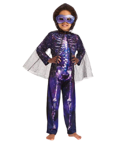 Purple Skeleton & Cape Costume - Tween