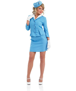 Plus Size Blue Cabin Crew costume
