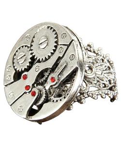Steampunk Watch Gears Ring - Silver