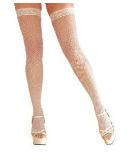 Lace Top Fishnet - white