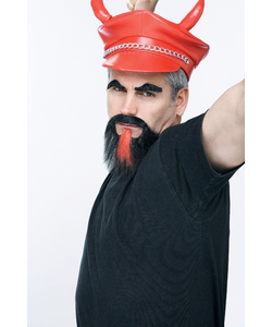 Devil Facial Hair - Black/Red