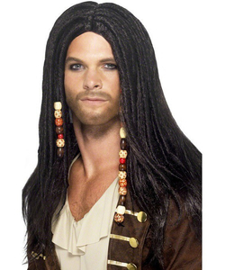 Long Black Pirate Wig