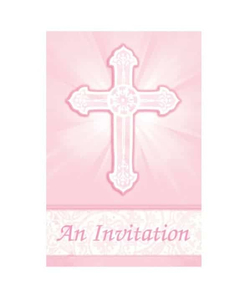 Radiant Cross Pink Folded Invitations