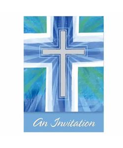 Joyous Cross Blue Folded Invitations, - 6 Pack