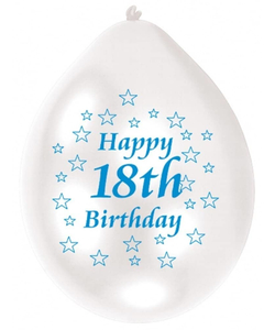 Blue/White Happy Birthday 18th Balloon - 10 Pack
