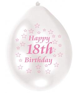 Pink/White Happy Birthday 18th Balloon - 10 Pack