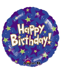 Happy Birthday Stars Balloon - 17""