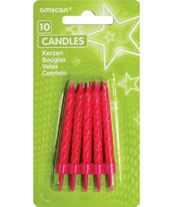 Pink Glitter Candles - 10 Pack