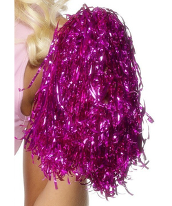 Metallic Pom Poms - Pink